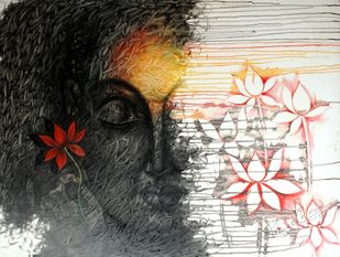 Lord Budha by prince chand, Expressionism Painting, Acrylic on Canvas, Gray color