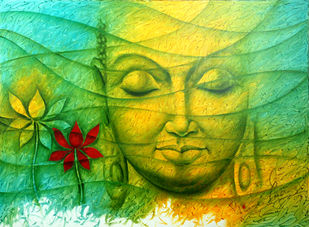 Lord Budha by prince chand, Expressionism Painting, Acrylic on Canvas, Green color