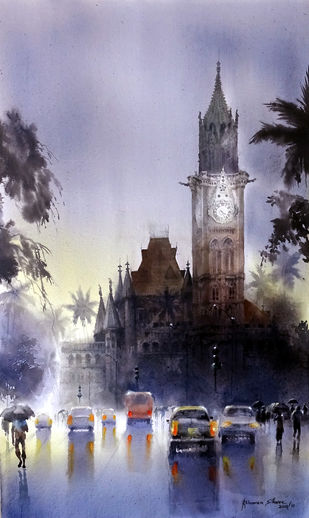 MUMBAI SHOWER-10 by Bhuwan Silhare, Impressionism Painting, Acrylic on Canvas, Pink color