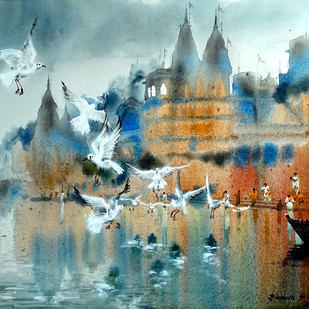 BANARAS GHAT-35 by Bhuwan Silhare, Impressionism Painting, Acrylic on Canvas, Green color