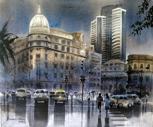 MUMBAI AFTER SHOWER-12 by Bhuwan Silhare, Impressionism Painting, Acrylic on Canvas, Gray color