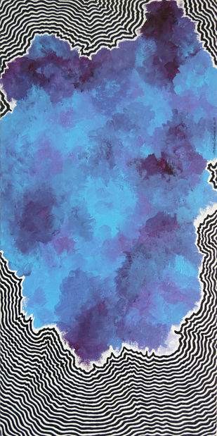 Untitled by Lakshmi Shewale, Abstract Painting, Acrylic on Canvas, Blue color