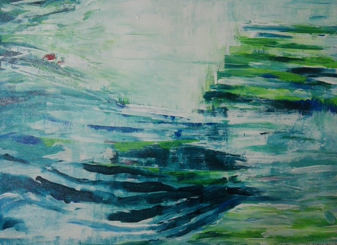 Home in the Valley by Broti Ganguly, Abstract Painting, Acrylic on Canvas, Green color