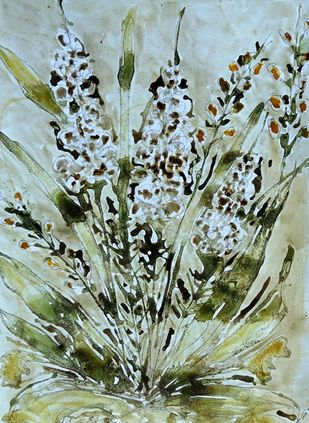 organic blooms by Baljit Singh Chadha, Abstract Painting, Mixed Media on Paper, Beige color