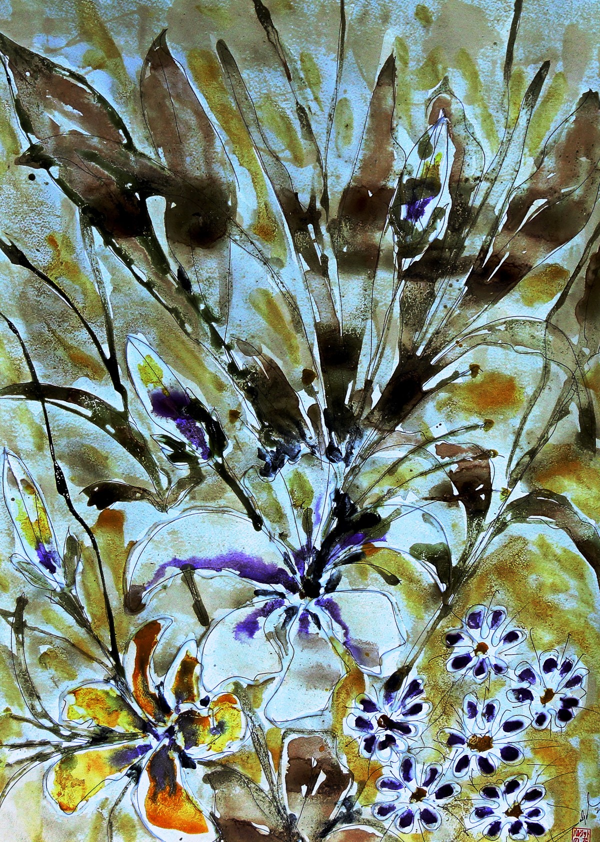 organic blooms by Baljit Singh Chadha, Impressionism Painting, Mixed Media on Paper, Green color