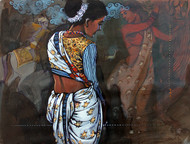 beauty by Ramchandra Kharatmal, Expressionism Painting, Acrylic on Paper, Brown color
