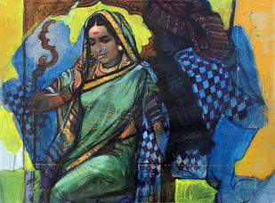 couple by Ramchandra Kharatmal, Traditional Painting, Acrylic on Paper, Green color