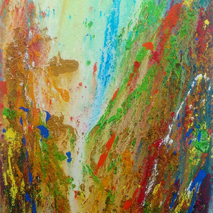 Waterfall Metamorphosis by Anshu, Abstract Painting, Acrylic on Canvas, Brown color