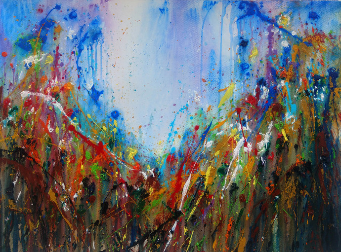 Wildflowers of my Valley by Anshu, Abstract Painting, Acrylic on Canvas, Brown color