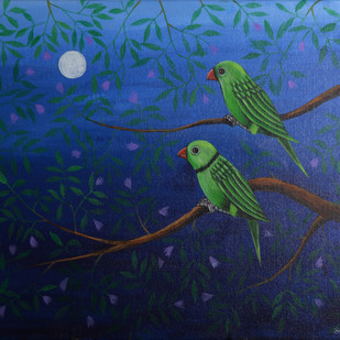 Birds Painting 52 by santosh patil, Expressionism Painting, Acrylic on Canvas, Blue color