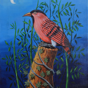 Birds Painting 53 by santosh patil, Impressionism Painting, Acrylic on Canvas, Blue color