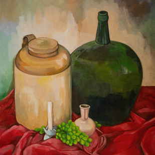 Pickels and Feni by Manuela Gomes, Expressionism Painting, Acrylic on Canvas, Brown color