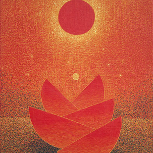 untitled by Hanumantha Rao Devulapalli, Geometrical Painting, Acrylic & Ink on Canvas, Red color