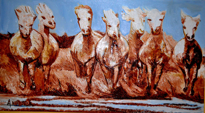 Divinr horses by Anand Swaroop, Impressionism Painting, Oil on Canvas, Brown color