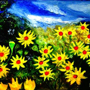 VALLY OF FLOWERS by Anand Swaroop, Impressionism Painting, Oil on Canvas, Green color