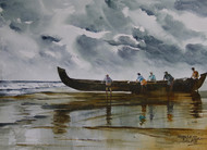 Monsoon Days 3 by Mopasang Valath, Impressionism Painting, Watercolor on Paper, Gray color