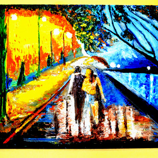 RAINY DAY by Anand Swaroop, Expressionism Painting, Oil on Canvas, Green color