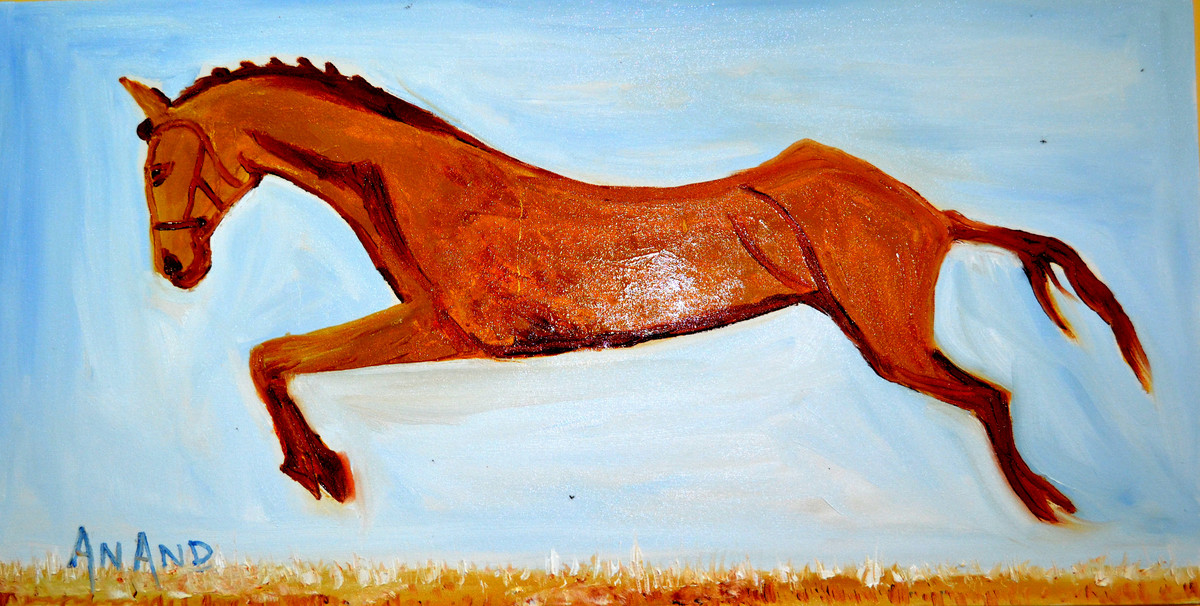 MY FAVORITE HORSE by Anand Swaroop, Expressionism Painting, Oil on Canvas, Cyan color