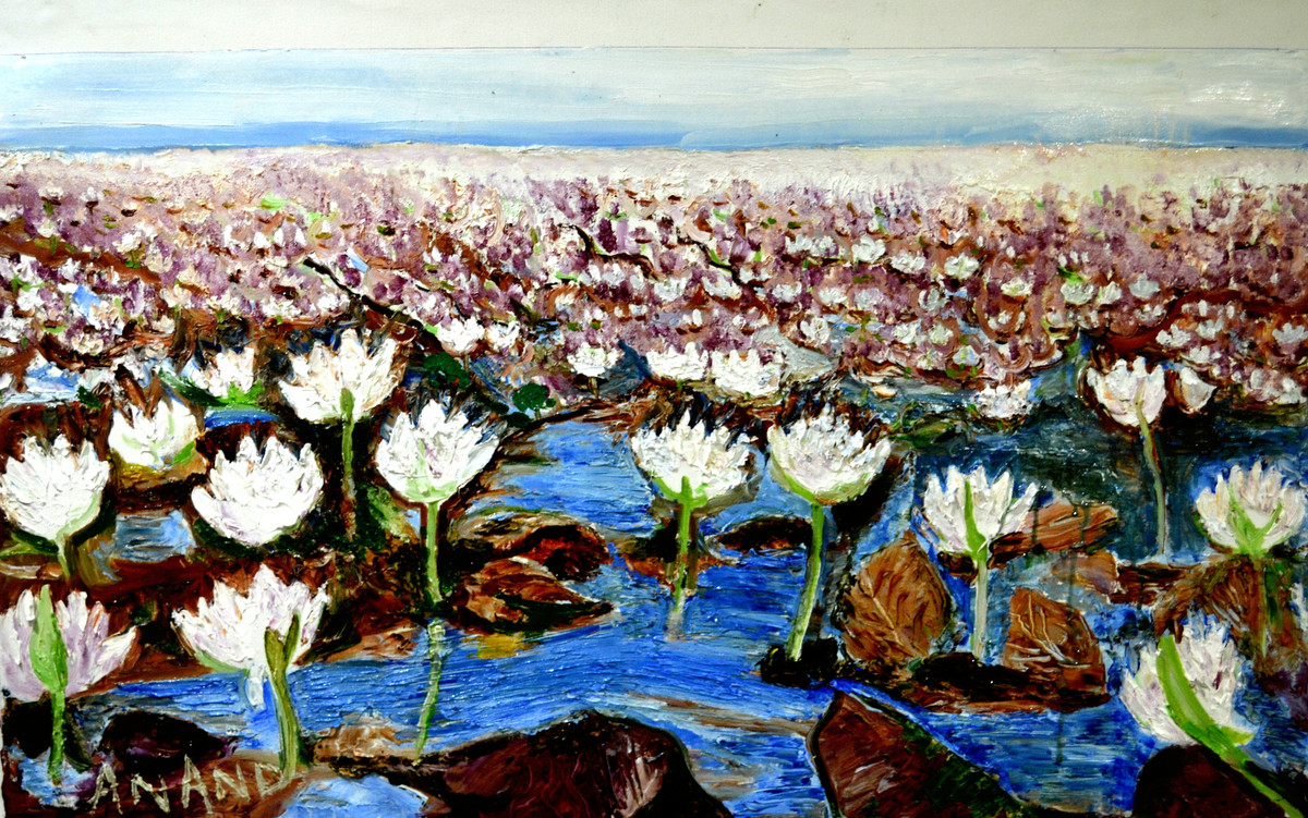VALLY OF FLOWERS-5 by Anand Swaroop, Expressionism Painting, Oil on Canvas, Brown color