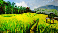 RICE FIELDS by Anand Swaroop, Expressionism Painting, Oil on Canvas, Green color