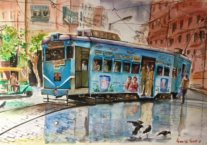 Calcutta Tram..City of Joy in Rain by Avanish Trivedi, Impressionism Painting, Watercolor on Paper, Brown color