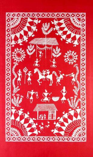 Warli Painting- Baraat by Rashmi Puranik-Thete, Folk Painting, Acrylic on Paper, Pink color
