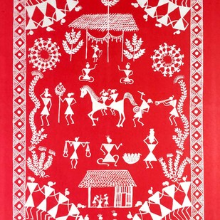 Warli Painting- Baraat by Rashmi Puranik-Thete, Folk Painting, Acrylic on Paper, Pink color