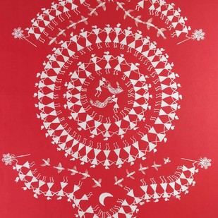 Warli Painting-Tarpa Dance by Rashmi Puranik-Thete, Folk Painting, Acrylic on Paper, Pink color