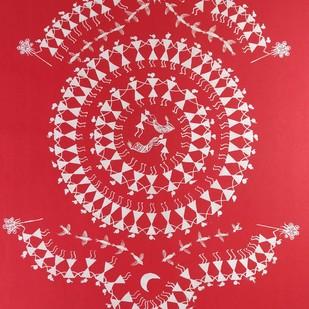 Warli Painting-Tarpa Dance by Rashmi Puranik-Thete, Folk Painting, Acrylic on Paper, Pink color