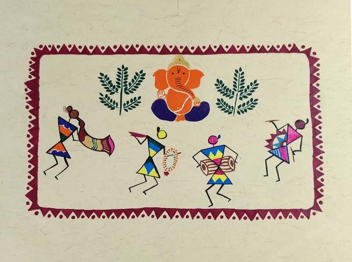 Warli Painting-Ganesh Vandana by Rashmi Puranik-Thete, Folk Painting, Acrylic on Paper, Beige color