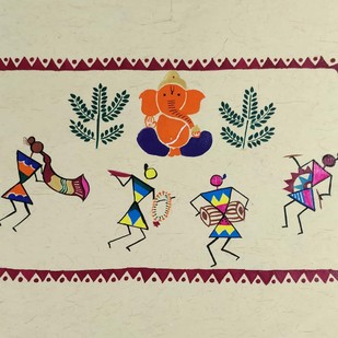 Warli Painting-Ganesh Vandana by Rashmi Puranik-Thete, Folk Painting, Acrylic on Paper, Beige color