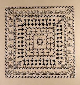 Warli Painting-Suryanamaskar( Sun Salutation) by Rashmi Puranik-Thete, Folk Painting, Acrylic on Paper, Beige color