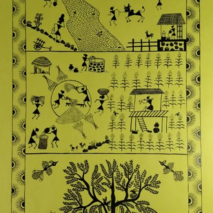 Warli Painting - Dinacharya( The village Routine) by Rashmi Puranik-Thete, Folk Painting, Acrylic on Paper, Green color