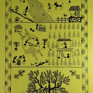 Warli Painting - Dinacharya( The village Routine) by Rashmi Puranik-Thete, Folk Painting, Acrylic on Paper, Green color
