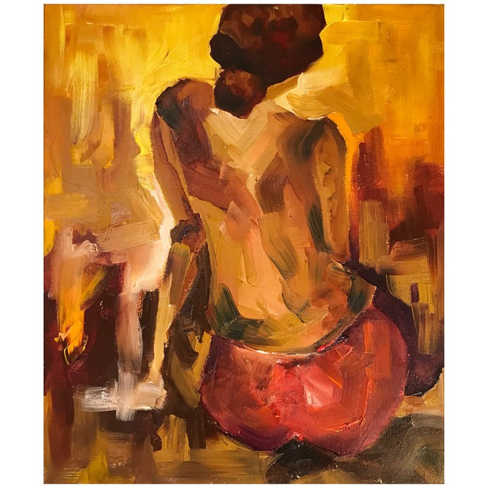 The Wait by Simran, Expressionism Painting, Oil on Canvas Board, Brown color