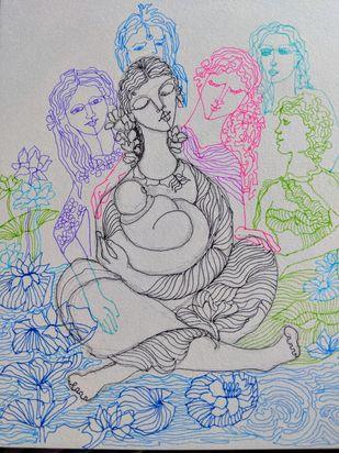 Blessings of Angels Digital Print by Prenita Dutt,Illustration