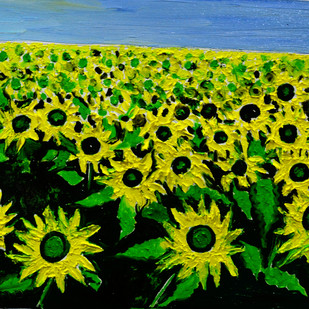VALLY OF FLOWERS-1 by Anand Swaroop, Impressionism Painting, Oil on Canvas, Green color