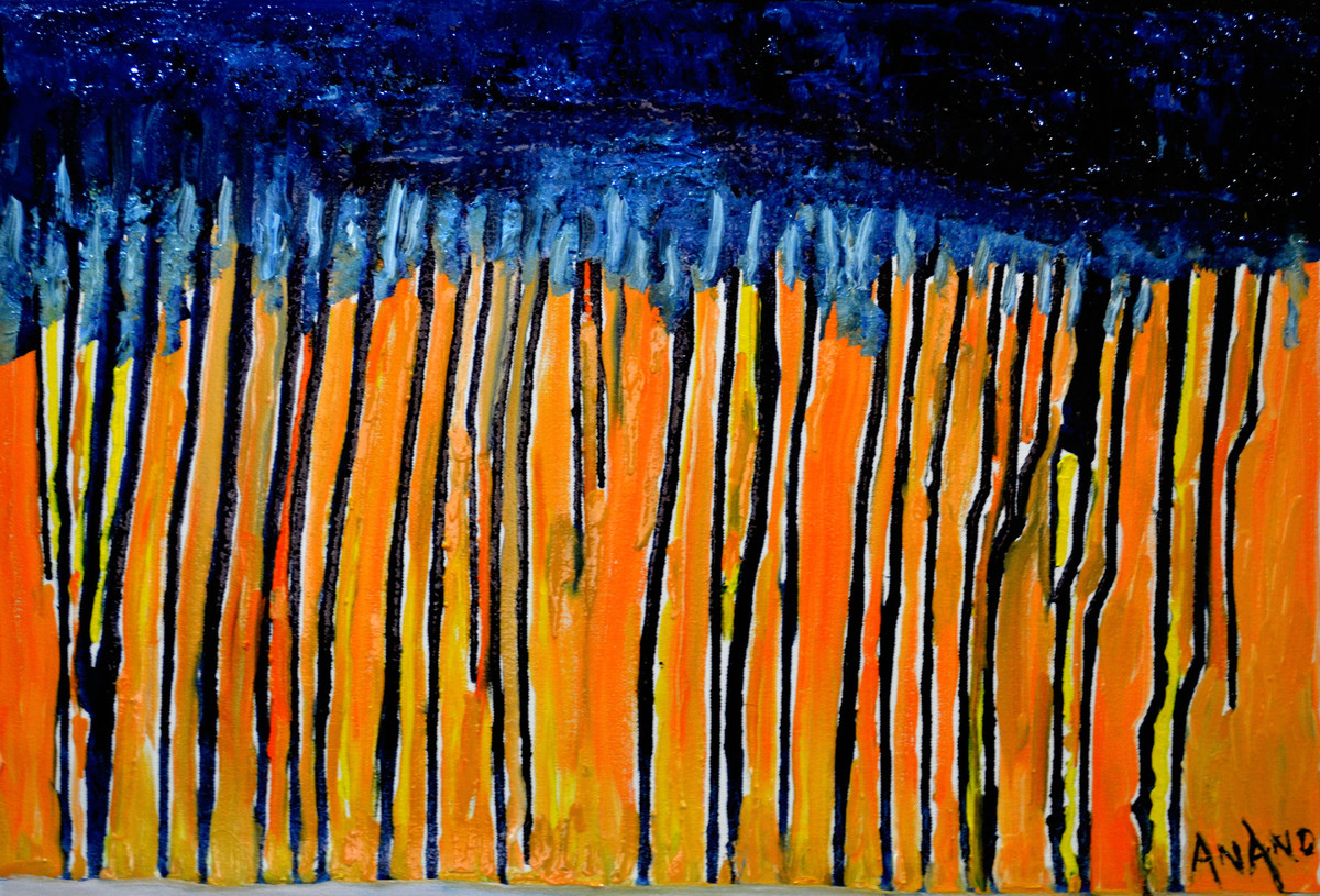ABSTRACT DRIP PAINTING by Anand Swaroop, Abstract Painting, Oil on Canvas, Brown color