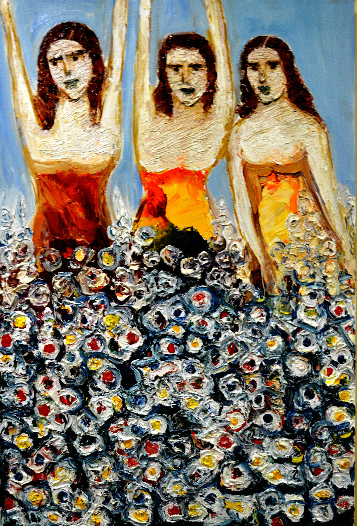 GIRLS WITH FLOWERS by Anand Swaroop, Expressionism Painting, Oil on Canvas, Brown color