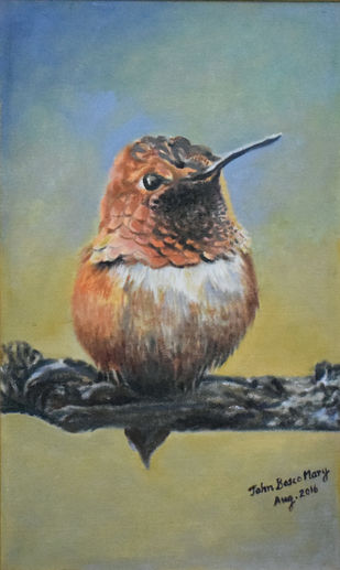 A Bird on a Branch by John Bosco Mary, Realism Painting, Oil on Canvas, Beige color