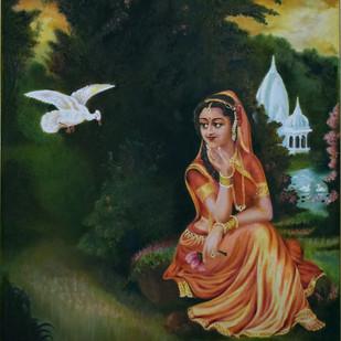 Lady in a Garden Digital Print by John Bosco Mary,Decorative