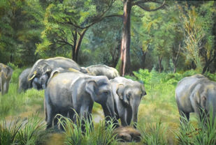 Elephants in a Forest by John Bosco Mary, Realism Painting, Oil on Canvas, Green color
