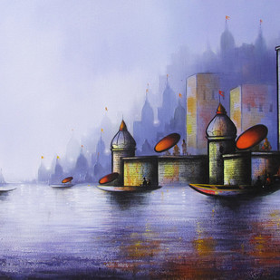 Holy Banaras by Somnath Bothe, Expressionism Painting, Acrylic on Canvas, Blue color