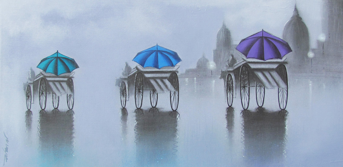 Monsoon Ride by Somnath Bothe, Impressionism Painting, Charcoal on Canvas, Cyan color