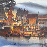 Banaras evening lights by Anand M Bekwad, Impressionism Painting, Acrylic on Canvas, Brown color