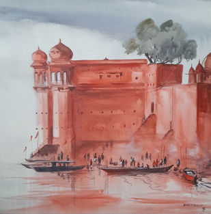 Banaras Fort by Anand M Bekwad, Impressionism Painting, Acrylic on Canvas, Brown color