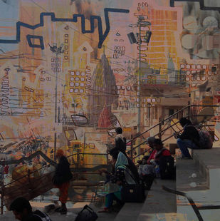 Banaras by Anand M Bekwad, Expressionism Painting, Digital Print on Canvas, Brown color