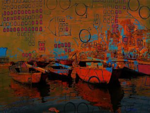 Banaras by Anand M Bekwad, Digital Digital Art, Digital Print on Canvas, Brown color