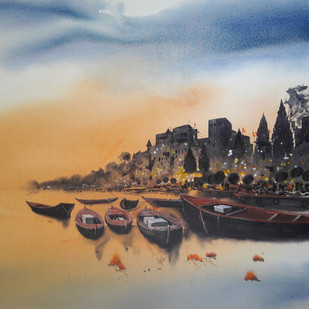 Banaras lights by Anand M Bekwad, Impressionism Painting, Acrylic on Canvas, Brown color