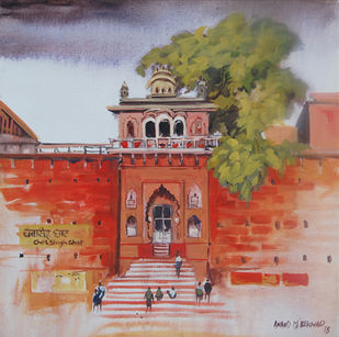 Banaras morning lights by Anand M Bekwad, Impressionism Painting, Acrylic on Canvas, Brown color